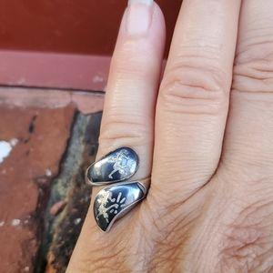 Vintage Sterling Siam Niello ring